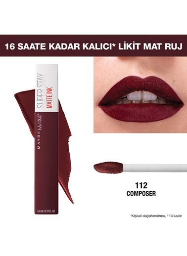 Maybelline Maybelline New York Super Stay Matte Ink City Edition Likit Mat Ruj - 145 Composer Bordo